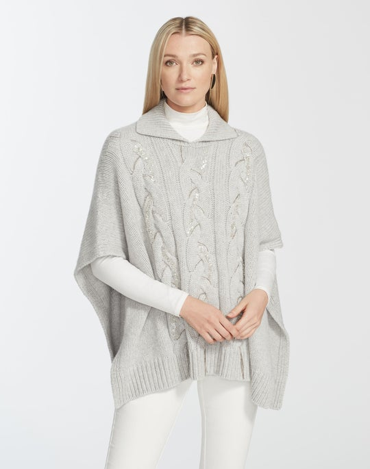 Cashmere Cable Knit Cape