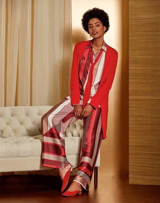 Tie-Neck Cardigan and Ankle Riverside Pant