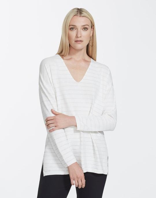 Matte Crepe Stripe V-Neck Pullover