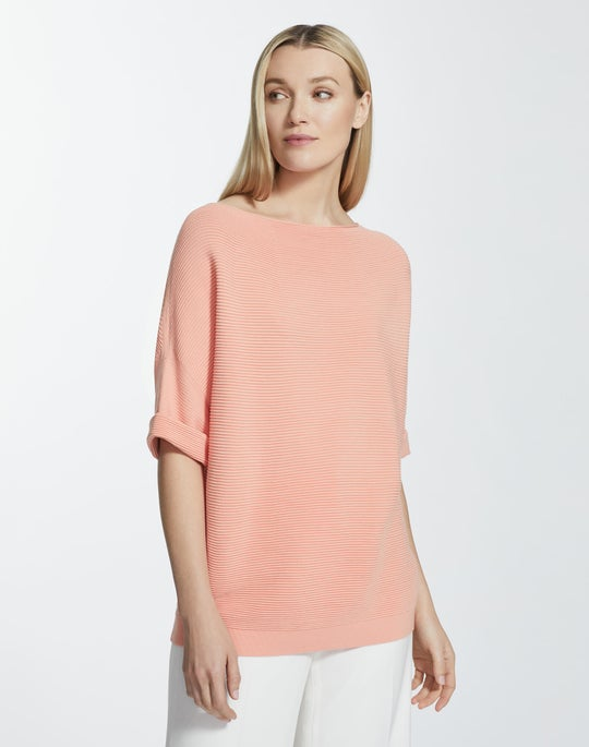 Matte Crepe Cuffed Bateau Neck Sweater
