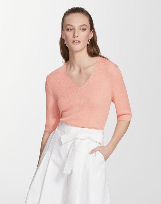 Finespun Voile Rib V-Neck Pullover Sweater