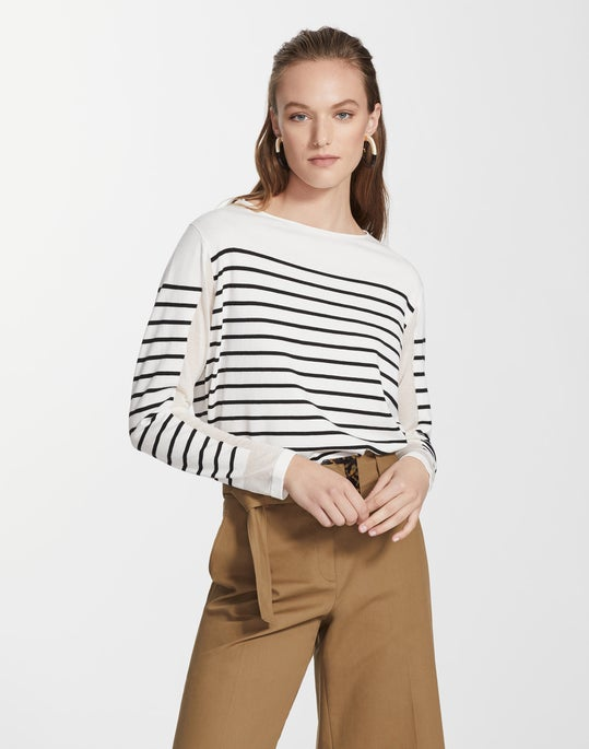 Matte Crepe Striped Bateau Neck Sweater