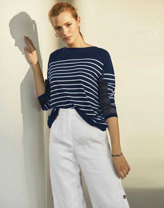 Stripe Bateau Neck Sweater and Capri Pant