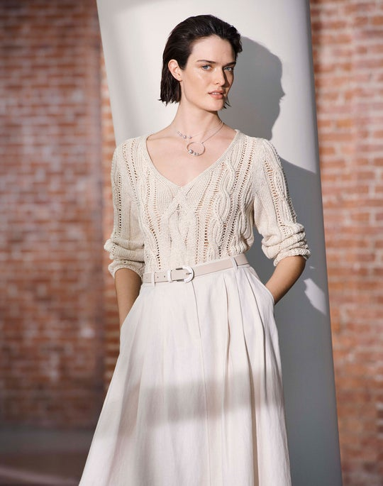 The Open-Weave Knit and Linen Midi Skirt