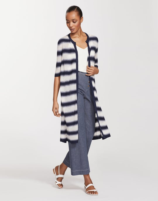 Plus-Size Finespun Voile Sheer Stripe Button Front Duster