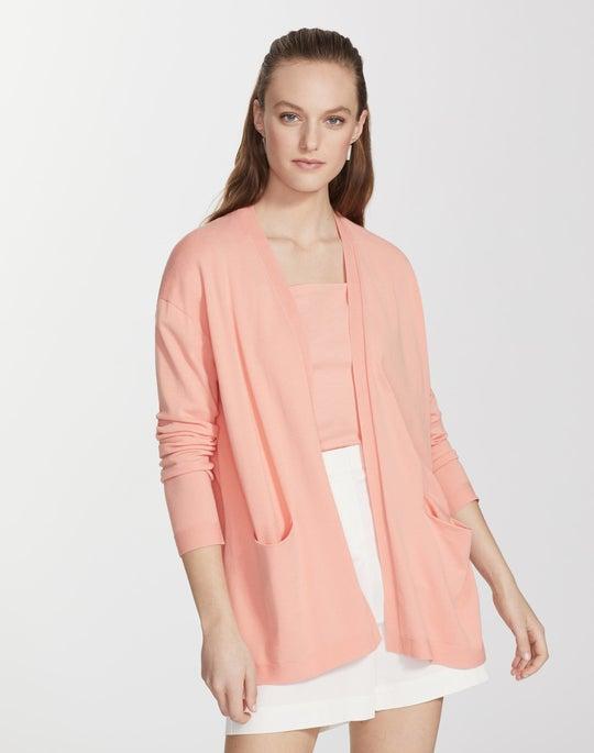 Plus-Size Matte Crepe Open Front Cardigan