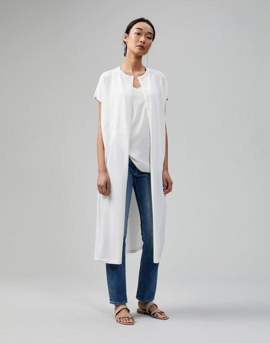 Plus-Size Cotton Crepe Charmeuse Back Button Up Duster