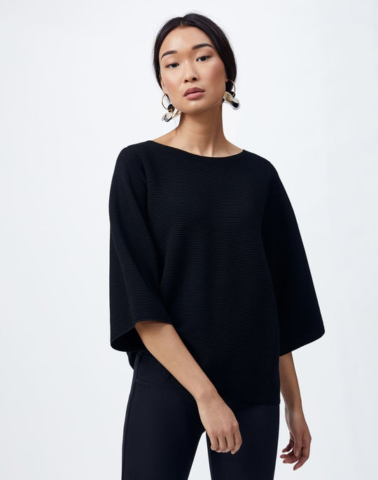 Cotton Crepe Bateau Neck Sweater