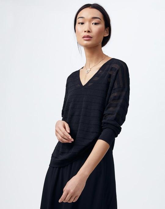 Petite Finespun Voile Sheer Stripe V-Neck Sweater
