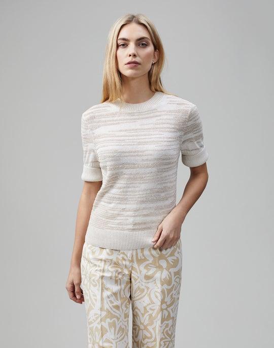 Linen Viscose Tape Textured Stitch Pullover