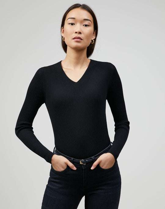 Petite Fine Gauge Merino Ribbed V-Neck Sweater