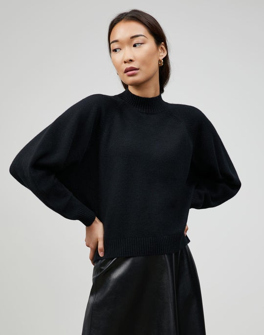 Cashmere Round Sleeve Crewneck Sweater