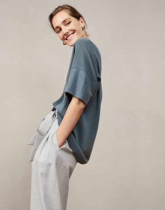 Cashmere Pullover and Tillary Wide Leg Pant
