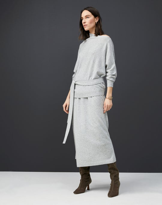 Cashmere Draped Collar Sweater and Wrap Skirt