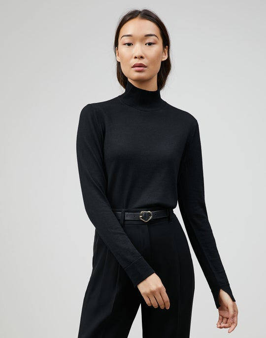 Fine Gauge Merino Side Split Stand Collar Sweater