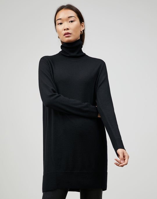Plus-Size Fine Gauge Merino Turtleneck Tunic Sweater