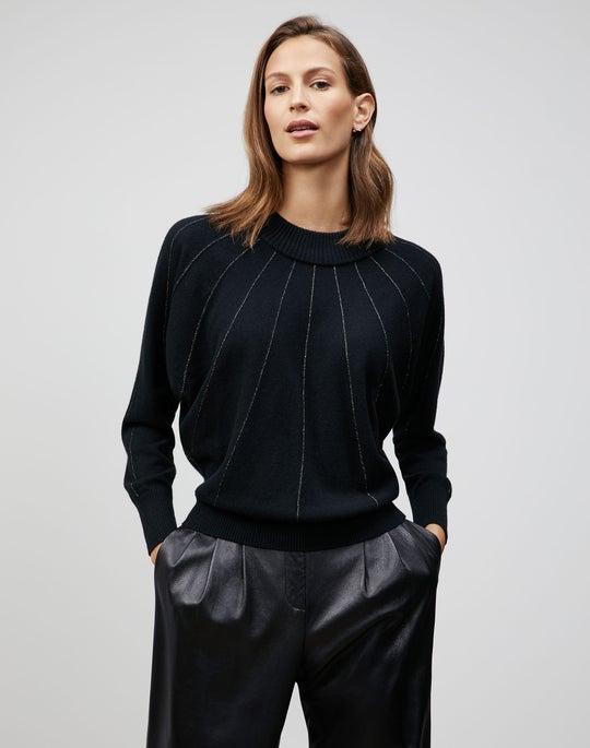 Cashmere Sunburst Stripe Dolman Sweater