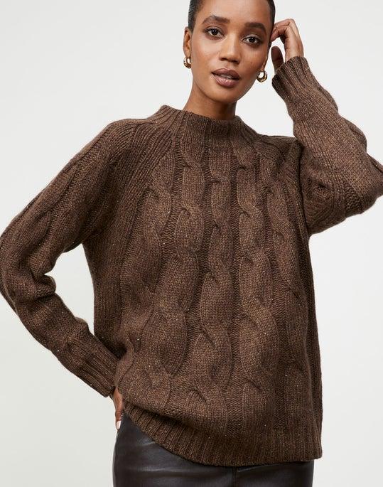 Cashmere Chine Sunburst Cable Sweater