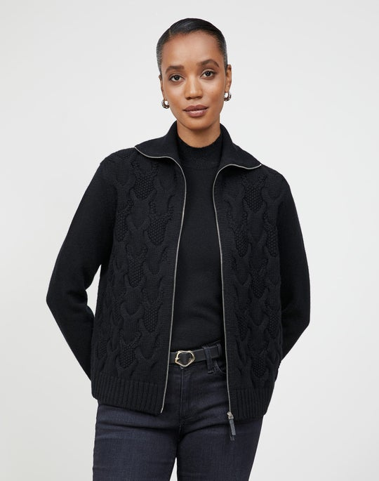 Cashmere Zip Front Cabled Cardigan