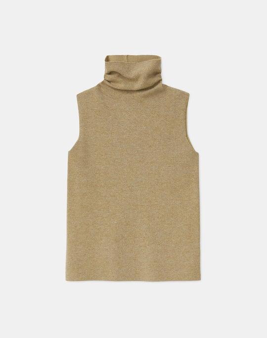 KindCashmere Double Knit Sleeveless Funnel Neck Sweater