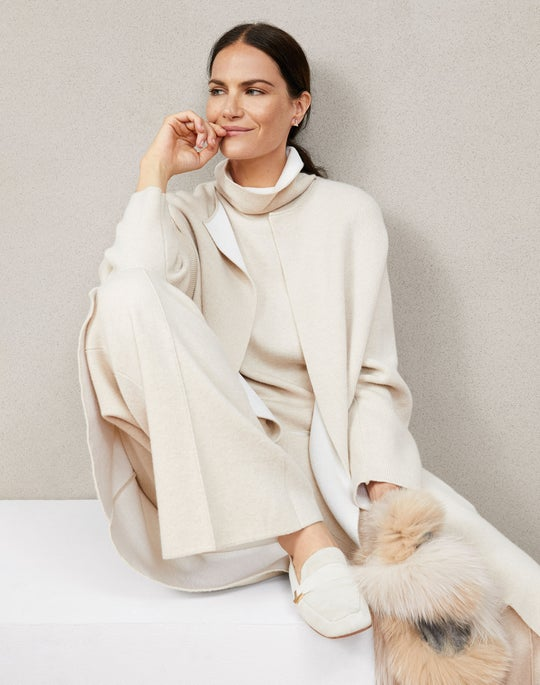 Knit Rounded Sleeve Coat and Knit Pull on Pant