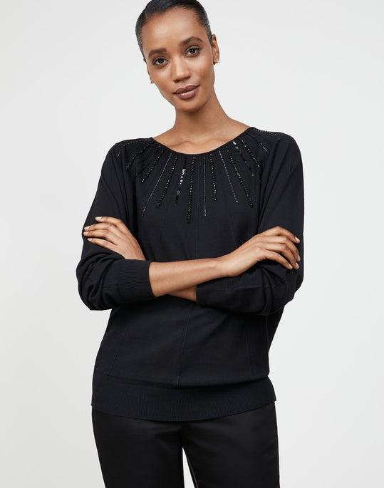 Matte Crepe Embellished Sunburst Sweater
