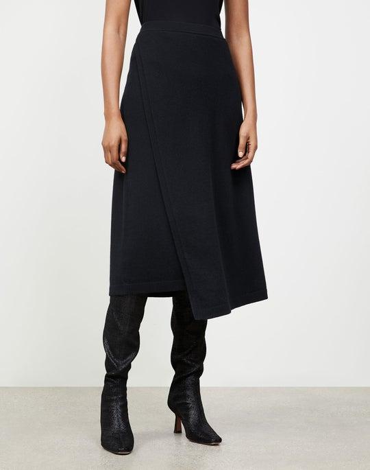 Cashmere Asymmetric Wrap Skirt