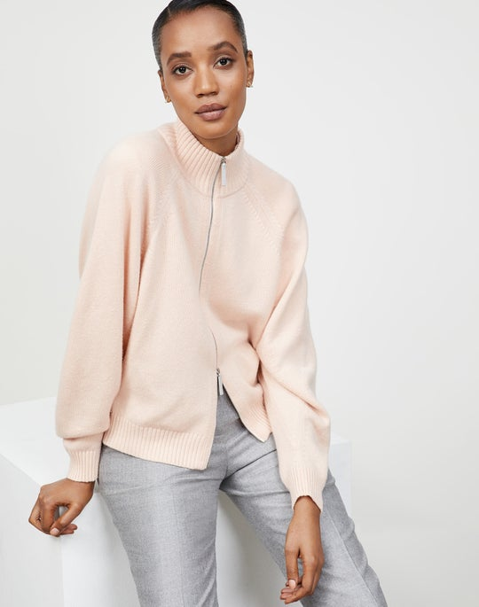 Cashmere Round Sleeve Zip Front Cardigan