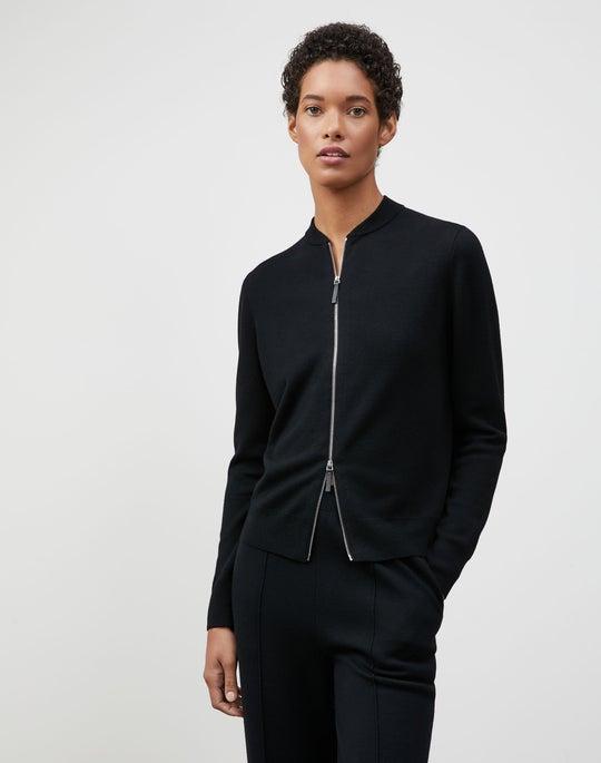 Plus-Size Italian Fine Gauge Merino KindWool Double Knit Zip Front Cardigan