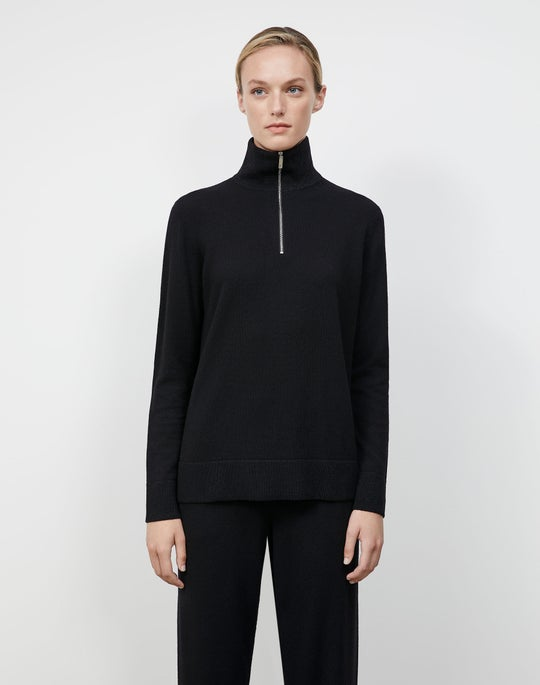 Cashmerino Half Zip Turtleneck Sweater