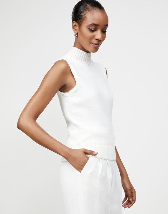 Lofty Italian Virgin Wool Cropped Sleeveless Turtleneck