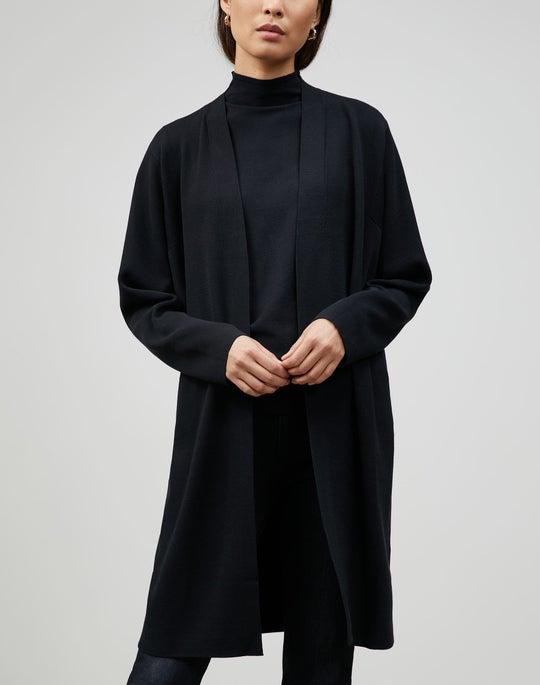 Matte Crepe Long Sleeve Open-Front Cardigan