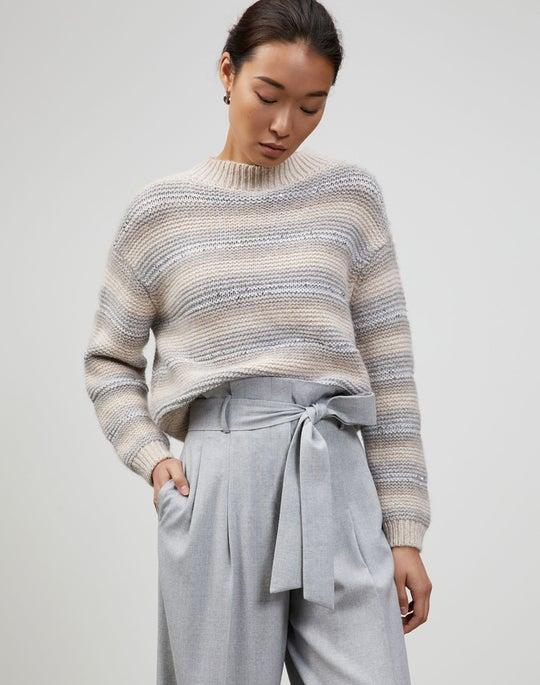 Cashmere Link Stitch Stripe Sweater