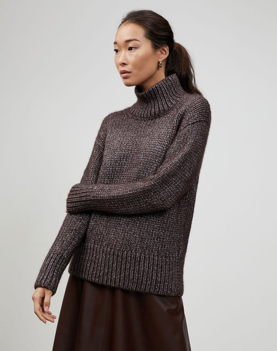 Italian Metallic Cashmere Lofty Turtleneck Sweater