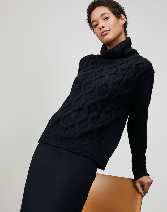 Plus-Size Cashmere Cable Funnel Neck Sweater