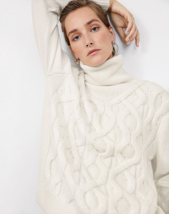 Cabled Funnel Neck Pullover and Ellis Pant