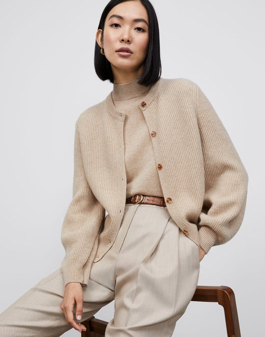 Rounded Sleeve Cardigan and Ellis Pleated Pant