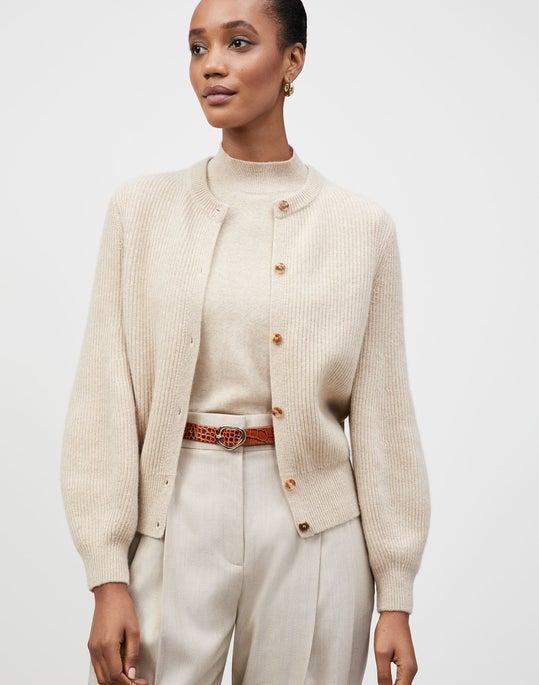 KindCashmere Blouson Sleeve Button Front Cardigan