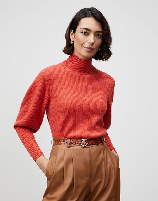 KindCashmere Blouson Sleeve Mockneck Sweater