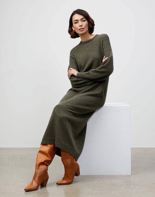 KindCashmere Blouson Sleeve Belted Sweater Dress