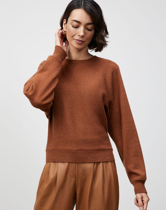 KindCashmere Chine Dolman Tie-Back Sweater
