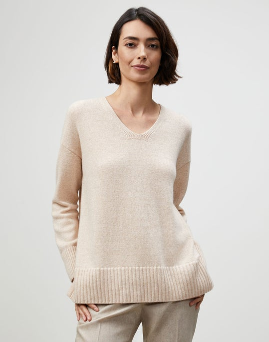 Plus-Size Cashmere Chine V-Neck Sweater