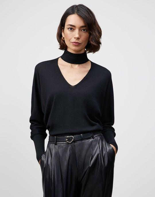 Italian Merino-Silk Collared Dolman Sweater