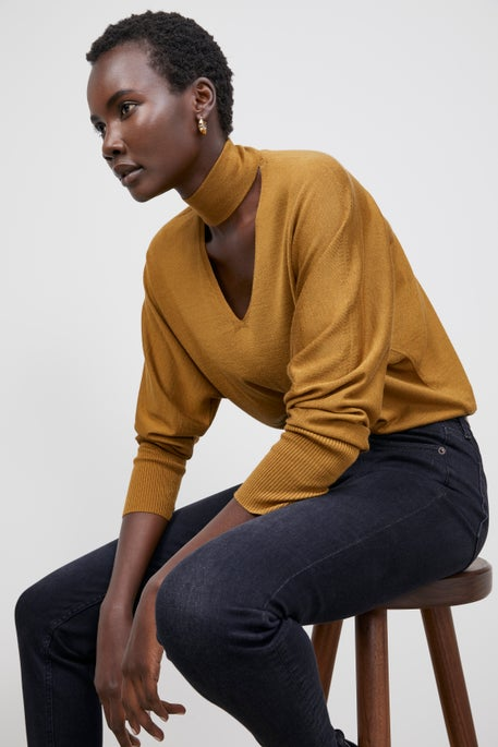 Italian Merino-Silk Sweater and Mercer Jean