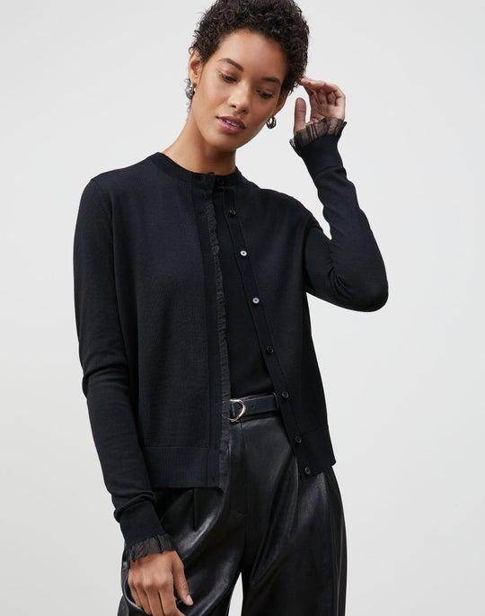 Italian Merino-Silk Ruffle Trim Button Front Cardigan