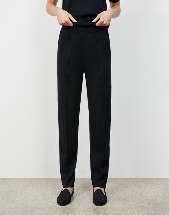 Plus-Size Italian Fine Gauge Merino KindWool Double Knit Tapered Pant