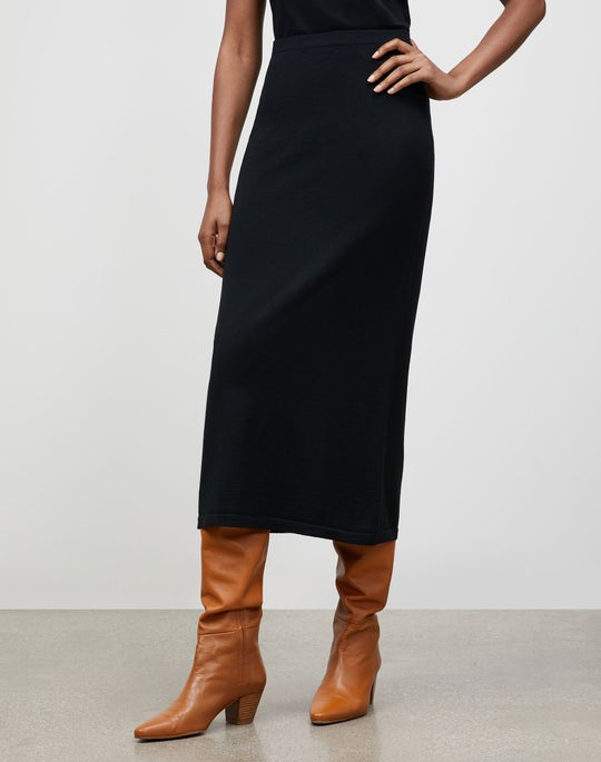 Italian Fine Gauge Merino KindWool Slim Pull-On Midi Skirt