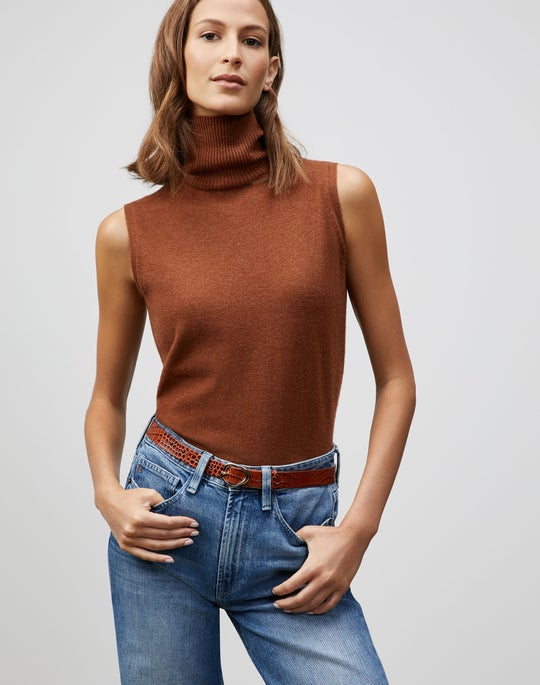 KindCashmere Turtleneck Sleeveless Shell